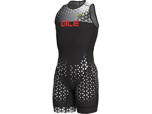 Alé Cycling Rush Olympic Tri Strój triathlonowy bez rękawów Short Mężczyźni, black-white